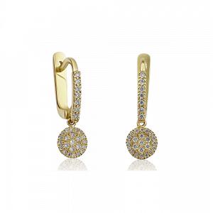 עגילי יהלומים מנצנצים זהב 14k