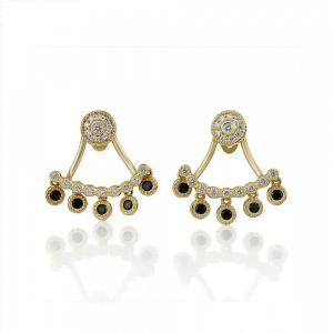 עגילי יהלומים עם מתלים אחוריים רטרו