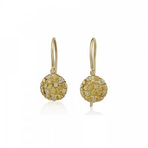 עגילי זהב 14k משובצים יהלומים