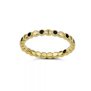 טבעת זהב 14k ויהלומים שחורים