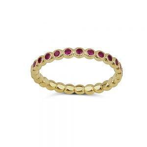 טבעת זהב 14k ואבני חן רובי
