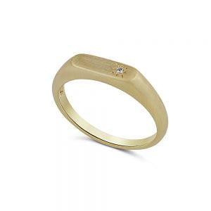 טבעת זהב חותם משובצת יהלום