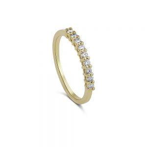 טבעת זהב 14k משובצת יהלומים