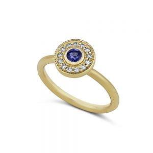 טבעת זהב וינטג׳ משובצת ספיר ויהלומים