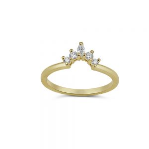 טבעת כתר זהב 14k ויהלומים