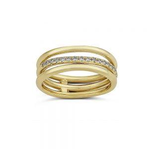 טבעת זהב מיוחדת משובצת יהלומים