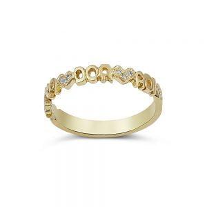 טבעת זהב ויהלומים עם שמות הילדים