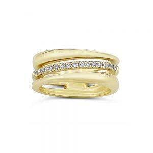 טבעת זהב גדולה משובצת יהלומים