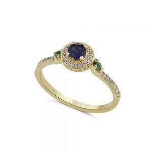 טבעת זהב יהלומים ואבני חן