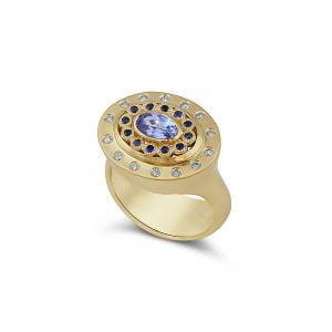 טבעת סטייטמנט 18k יהלומים ואבני חן