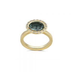 טבעת זהב 18k אקוומרין ויהלומים