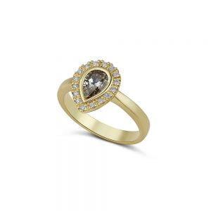 יהלום שמפניה משובץ בטבעת 18k
