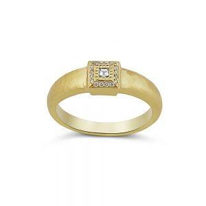 טבעת זהב צהוב 18k ויהלומים