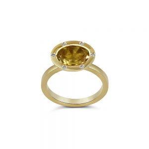 סיטרין נדירה בטבעת זהב 18k