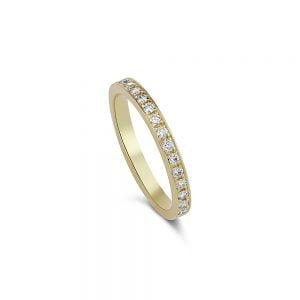 טבעת זהב ויהלומים באיכות F VS מעולה